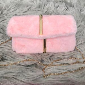 Baby pink faux fur clutch